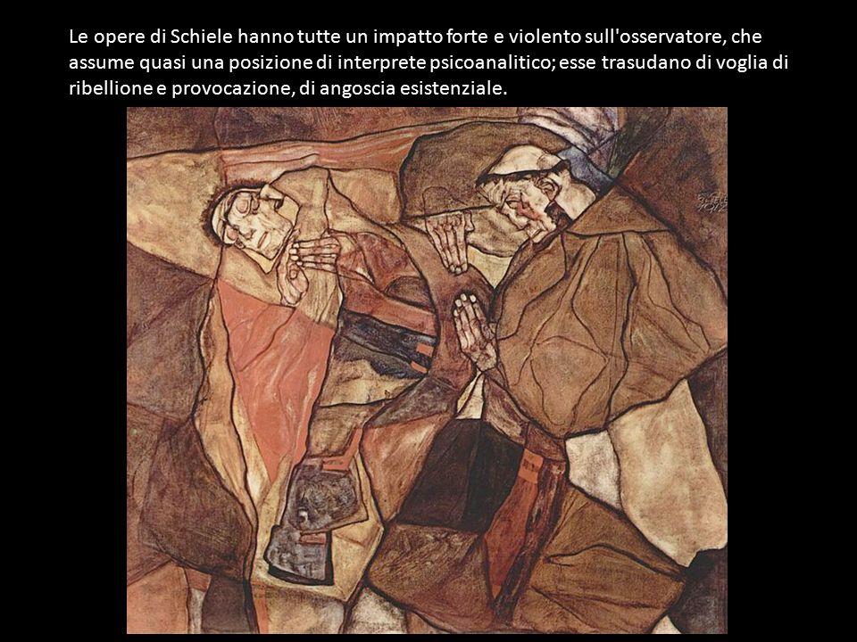 Le opere di Schiele hanno tutte un impatto forte e violento sull'osservatore, che assume quasi una posizione di interprete psicoanalitico; esse trasud