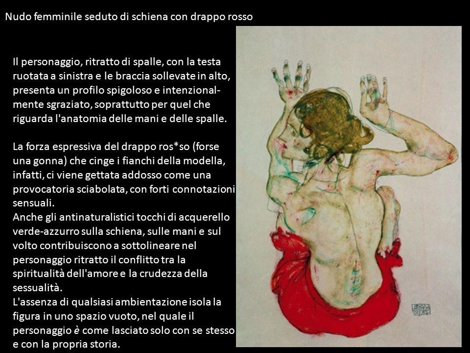 Nudo femminile seduto di schiena con drappo rosso Il personaggio, ritratto di spalle, con la testa ruotata a sinistra e le braccia sollevate in alto,