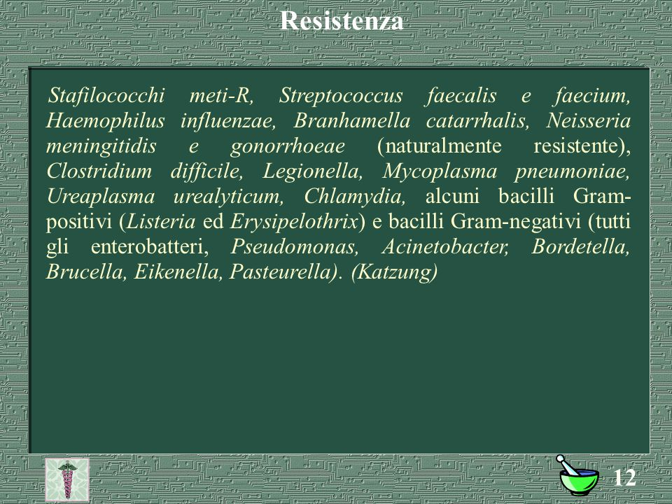 11  Cocchi gram+: Stafilococchi metiS-S, Pneumococchi, Streptococchi;  Bacilli gram+: B. anthracis, Corynebacterium, Lattobacilli, Nocardia;  Bacil
