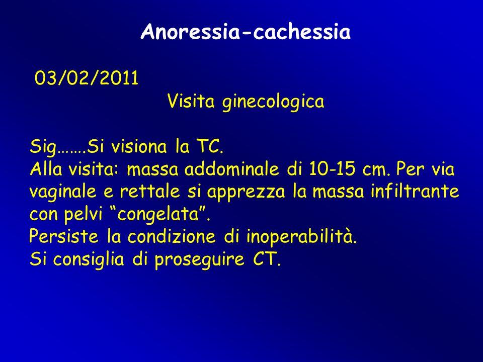 Anoressia-cachessia 03/02/2011 Visita ginecologica Sig…….Si visiona la TC. Alla visita: massa addominale di 10-15 cm. Per via vaginale e rettale si ap