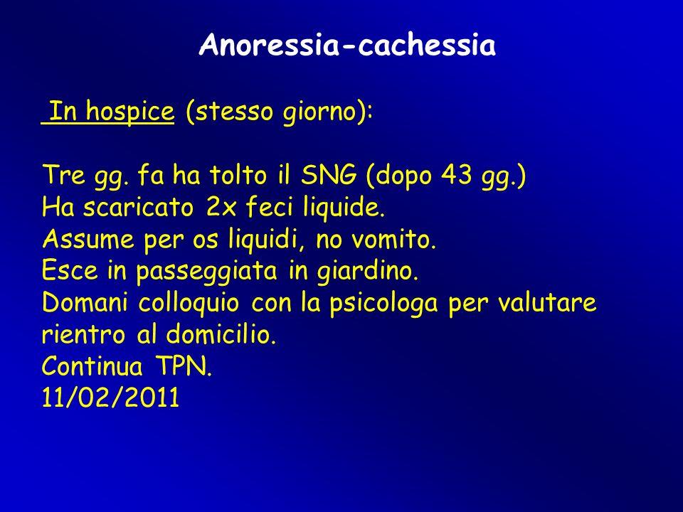Anoressia-cachessia In hospice (stesso giorno): Tre gg. fa ha tolto il SNG (dopo 43 gg.)  Ha scaricato 2x feci liquide. Assume per os liquidi, no vom