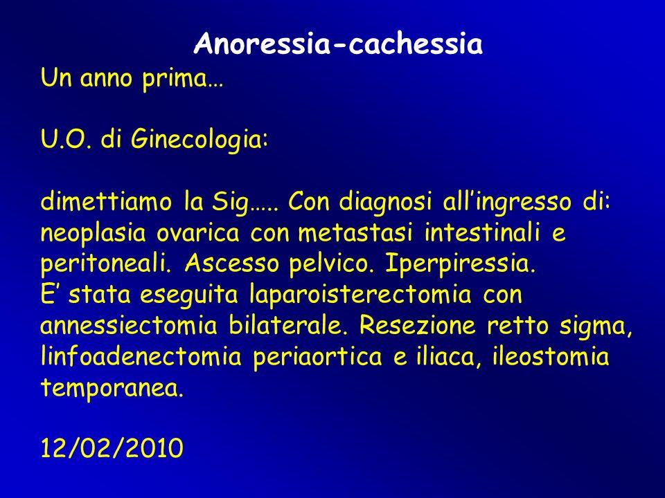 Anoressia-cachessia Un anno prima… U.O. di Ginecologia: dimettiamo la Sig….. Con diagnosi all'ingresso di: neoplasia ovarica con metastasi intestinali