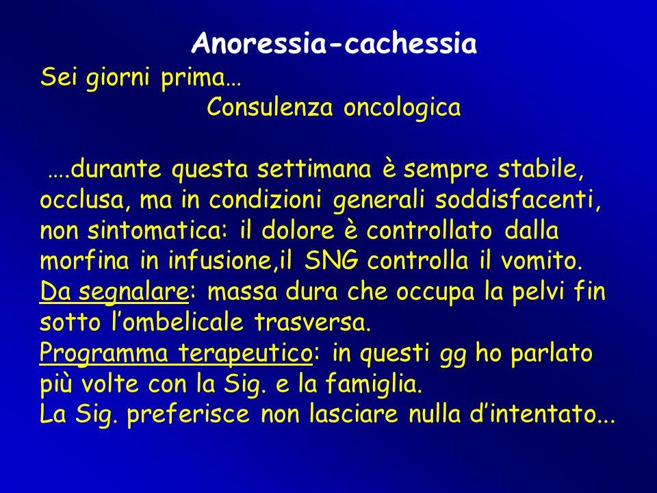 Anoressia-cachessia Sei giorni prima… Consulenza oncologica ….durante questa settimana è sempre stabile, occlusa, ma in condizioni generali soddisfacenti, non sintomatica: il dolore è controllato dalla morfina in infusione,il SNG controlla il vomito.