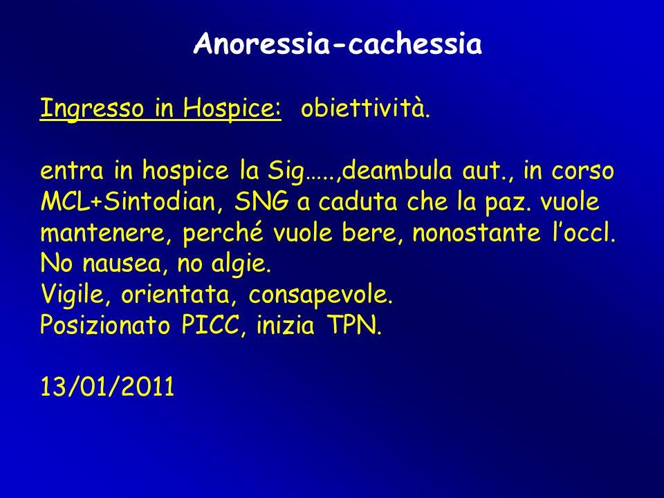 Anoressia-cachessia Ingresso in Hospice: obiettività. entra in hospice la Sig…..,deambula aut., in corso MCL+Sintodian, SNG a caduta che la paz. vuole