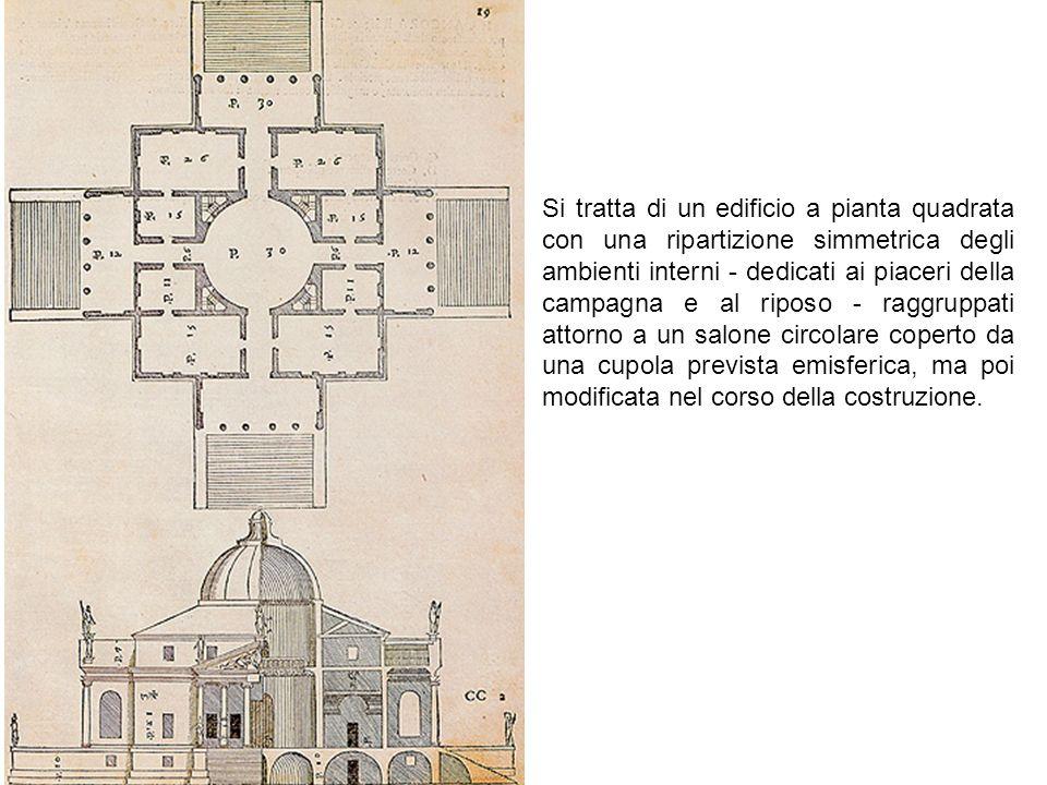 Si tratta di un edificio a pianta quadrata con una ripartizione simmetrica degli ambienti interni - dedicati ai piaceri della campagna e al riposo - r