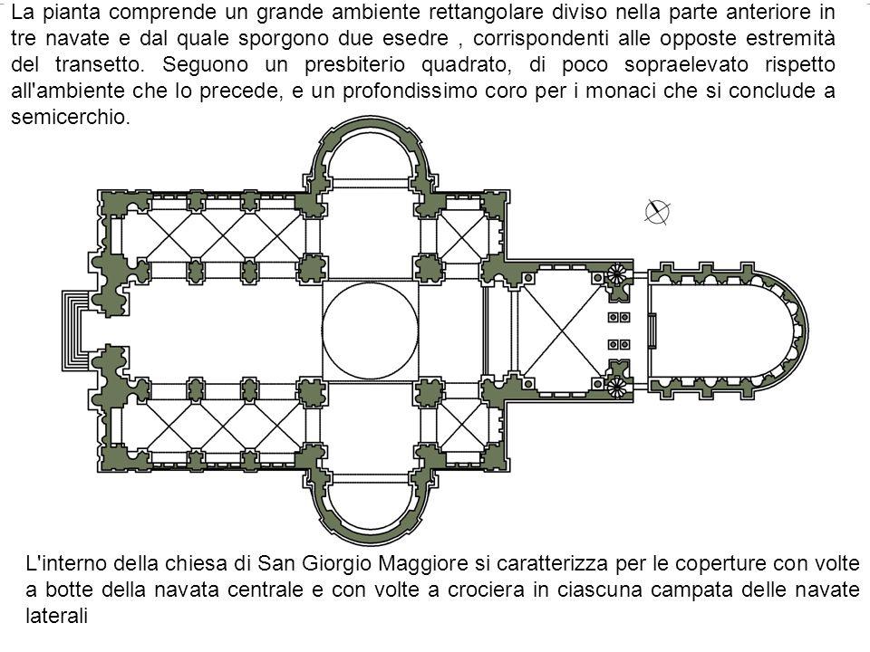 La pianta comprende un grande ambiente rettangolare diviso nella parte anteriore in tre navate e dal quale sporgono due esedre, corrispondenti alle op