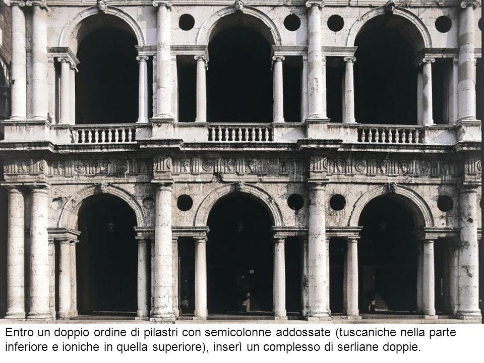 Entro un doppio ordine di pilastri con semicolonne addossate (tuscaniche nella parte inferiore e ioniche in quella superiore), inserì un complesso di