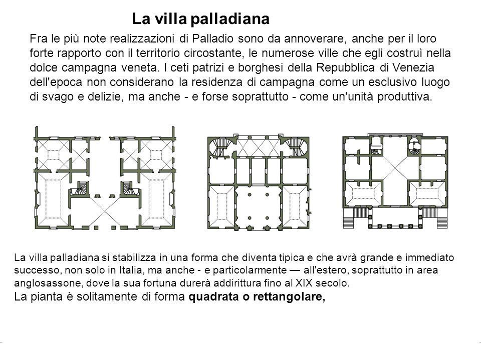 La villa palladiana Fra le più note realizzazioni di Palladio sono da annoverare, anche per il loro forte rapporto con il territorio circostante, le n