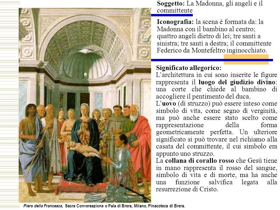 Federico è raffigurato alla sinistra e non alla destra della Vergine Sull armatura di Federico Piero ha veramente misurato il proprio valore.