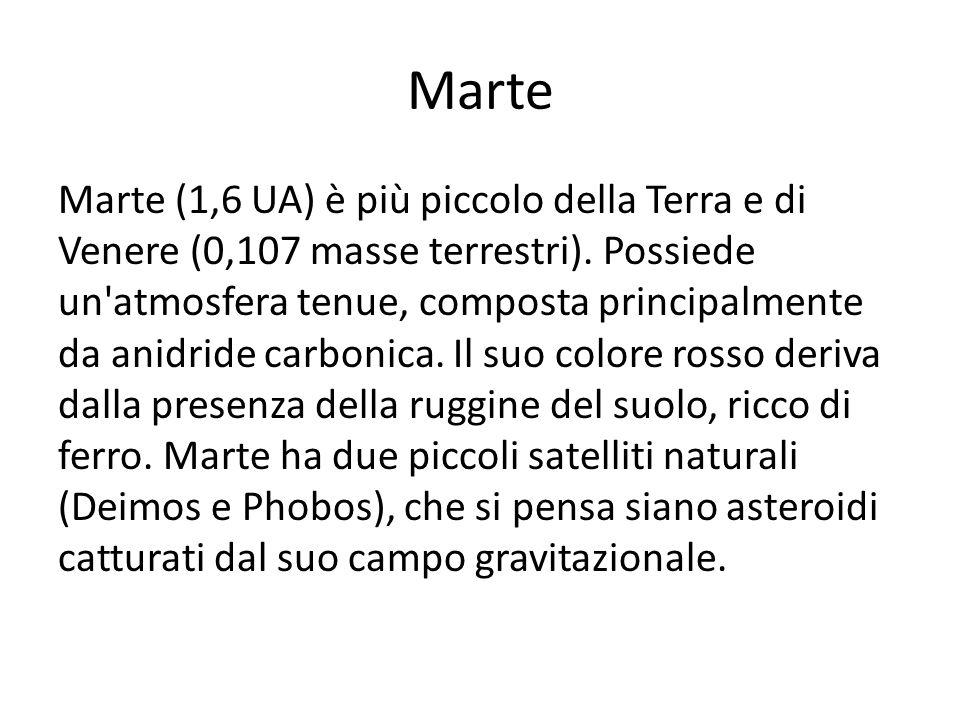 Marte Marte (1,6 UA) è più piccolo della Terra e di Venere (0,107 masse terrestri). Possiede un'atmosfera tenue, composta principalmente da anidride c