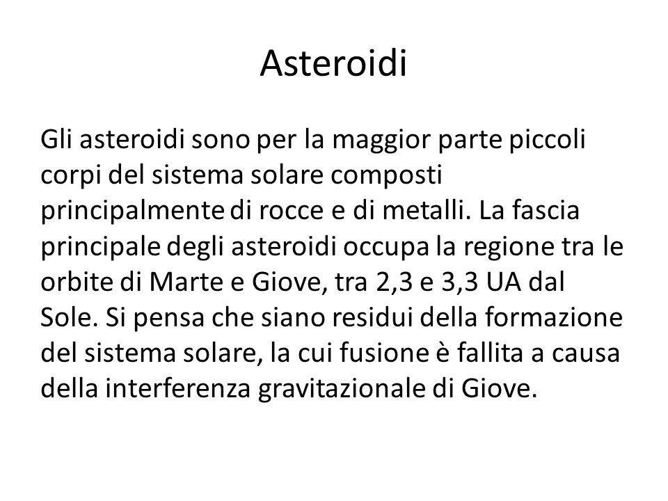 Asteroidi Gli asteroidi sono per la maggior parte piccoli corpi del sistema solare composti principalmente di rocce e di metalli. La fascia principale