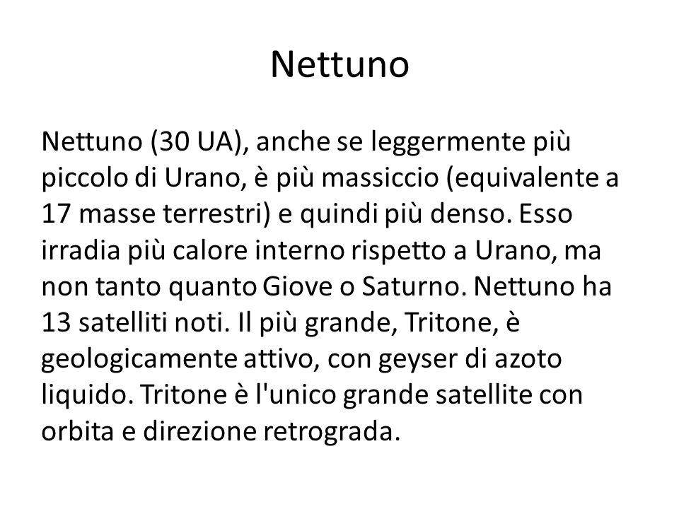Nettuno Nettuno (30 UA), anche se leggermente più piccolo di Urano, è più massiccio (equivalente a 17 masse terrestri) e quindi più denso. Esso irradi
