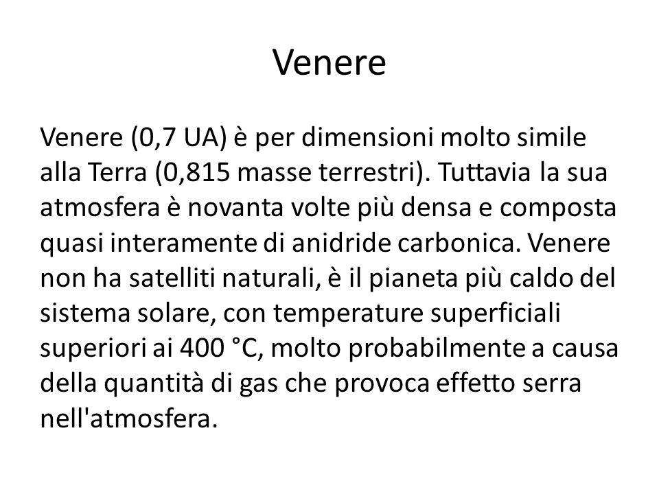 Venere Venere (0,7 UA) è per dimensioni molto simile alla Terra (0,815 masse terrestri). Tuttavia la sua atmosfera è novanta volte più densa e compost