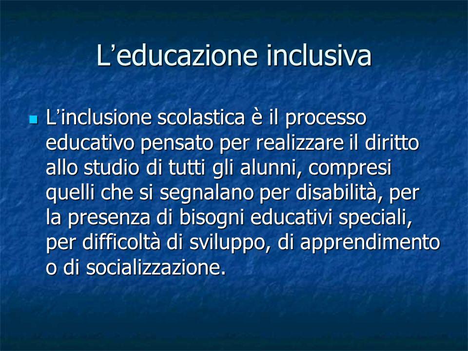 L ' educazione inclusiva L ' esperienza dei contesti educativi per la prima infanzia e della scuola propone il tema più generale dell ' accesso, delle pari opportunità e della partecipazione sociale attiva e significativa nella società aperta.