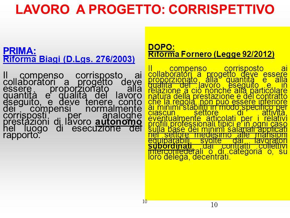 10 LAVORO A PROGETTO: CORRISPETTIVO PRIMA: Riforma Biagi (D.Lgs. 276/2003) Il compenso corrisposto ai collaboratori a progetto deve essere proporziona