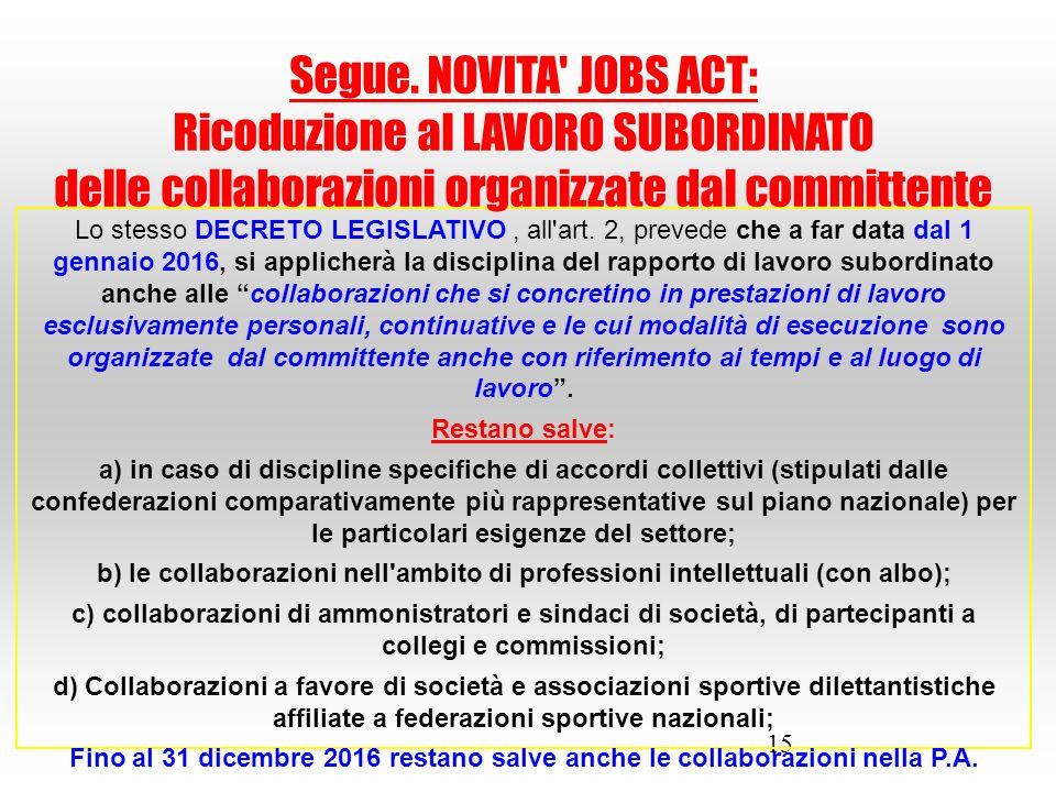 15 Lo stesso DECRETO LEGISLATIVO, all'art. 2, prevede che a far data dal 1 gennaio 2016, si applicherà la disciplina del rapporto di lavoro subordinat