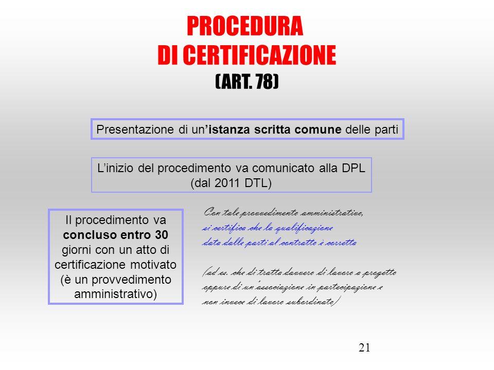 21 PROCEDURA DI CERTIFICAZIONE (ART. 78) Presentazione di un'istanza scritta comune delle parti L'inizio del procedimento va comunicato alla DPL (dal