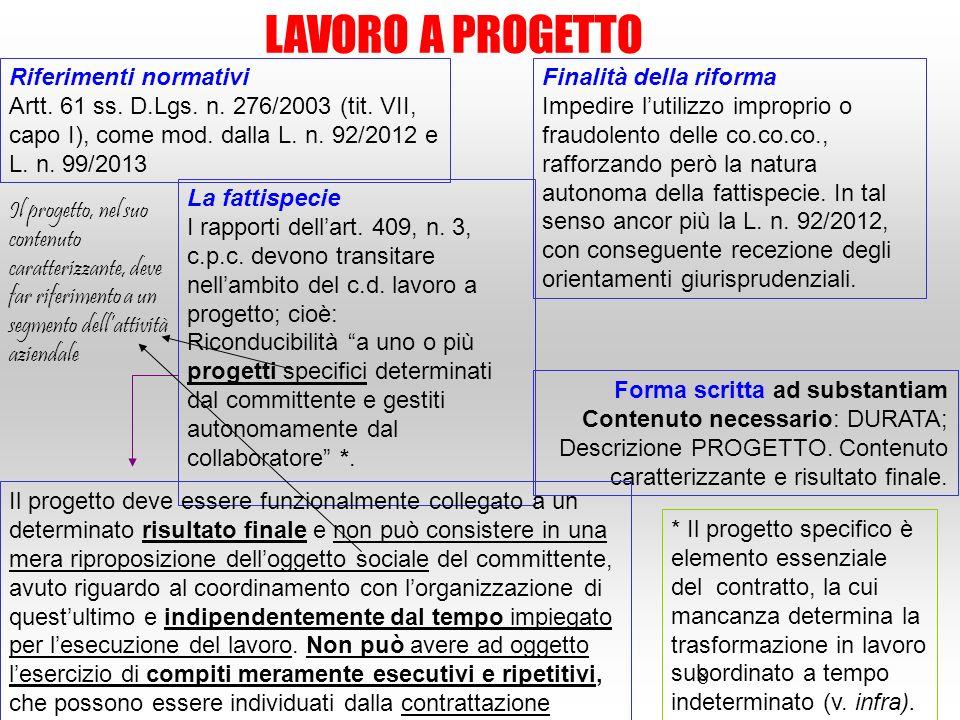 8 LAVORO A PROGETTO Riferimenti normativi Artt. 61 ss. D.Lgs. n. 276/2003 (tit. VII, capo I), come mod. dalla L. n. 92/2012 e L. n. 99/2013 Finalità d