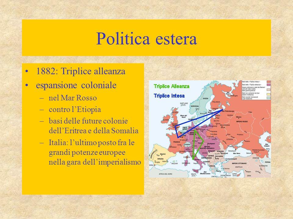 Politica estera 1882: Triplice alleanza espansione coloniale –nel Mar Rosso –contro l'Etiopia –basi delle future colonie dell'Eritrea e della Somalia –Italia: l'ultimo posto fra le grandi potenze europee nella gara dell'imperialismo