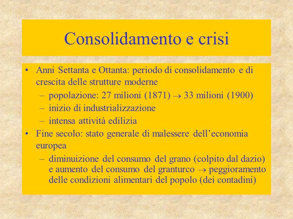 Consolidamento e crisi Anni Settanta e Ottanta: periodo di consolidamento e di crescita delle strutture moderne –popolazione: 27 milioni (1871)  33 m