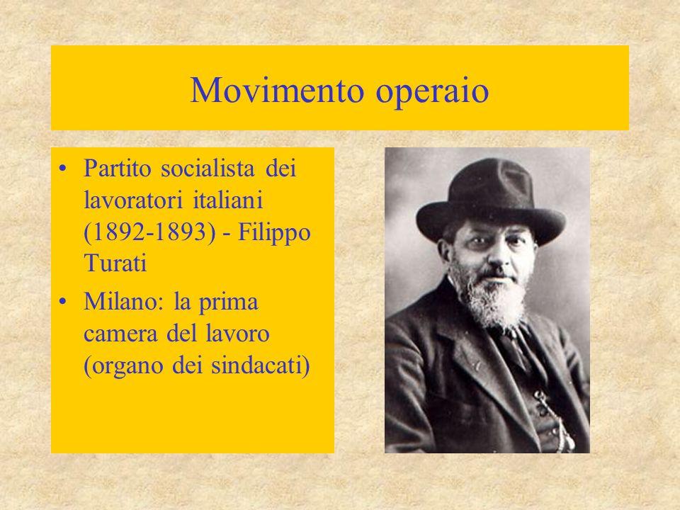 Movimento operaio Partito socialista dei lavoratori italiani (1892-1893) - Filippo Turati Milano: la prima camera del lavoro (organo dei sindacati)