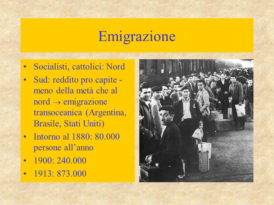 Emigrazione Socialisti, cattolici: Nord Sud: reddito pro capite - meno della metà che al nord  emigrazione transoceanica (Argentina, Brasile, Stati Uniti) Intorno al 1880: 80.000 persone all'anno 1900: 240.000 1913: 873.000