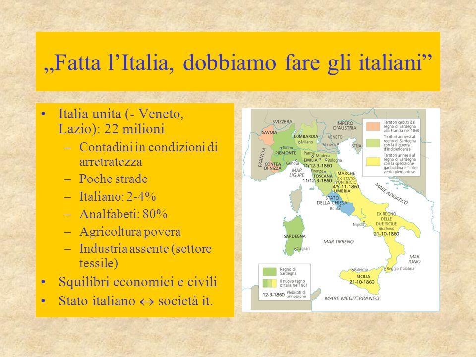 """""""Fatta l'Italia, dobbiamo fare gli italiani"""" Italia unita (- Veneto, Lazio): 22 milioni –Contadini in condizioni di arretratezza –Poche strade –Italia"""
