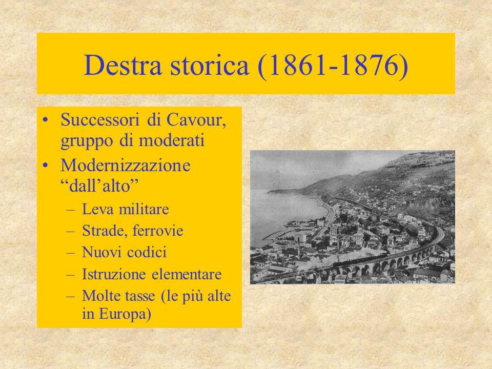 Destra storica (1861-1876) Successori di Cavour, gruppo di moderati Modernizzazione dall'alto –Leva militare –Strade, ferrovie –Nuovi codici –Istruzione elementare –Molte tasse (le più alte in Europa)
