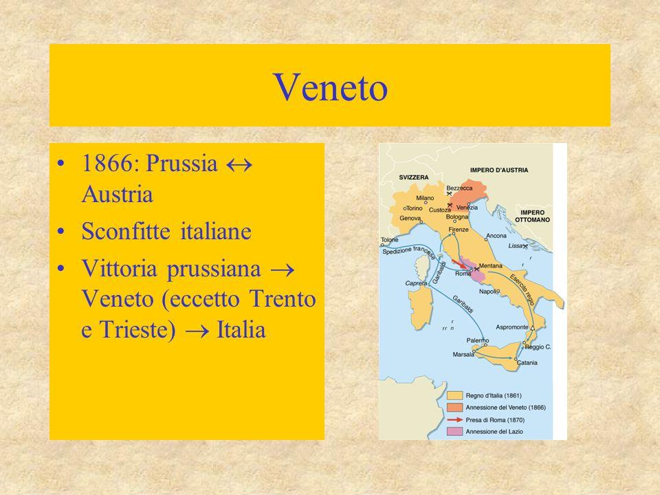 Veneto 1866: Prussia  Austria Sconfitte italiane Vittoria prussiana  Veneto (eccetto Trento e Trieste)  Italia