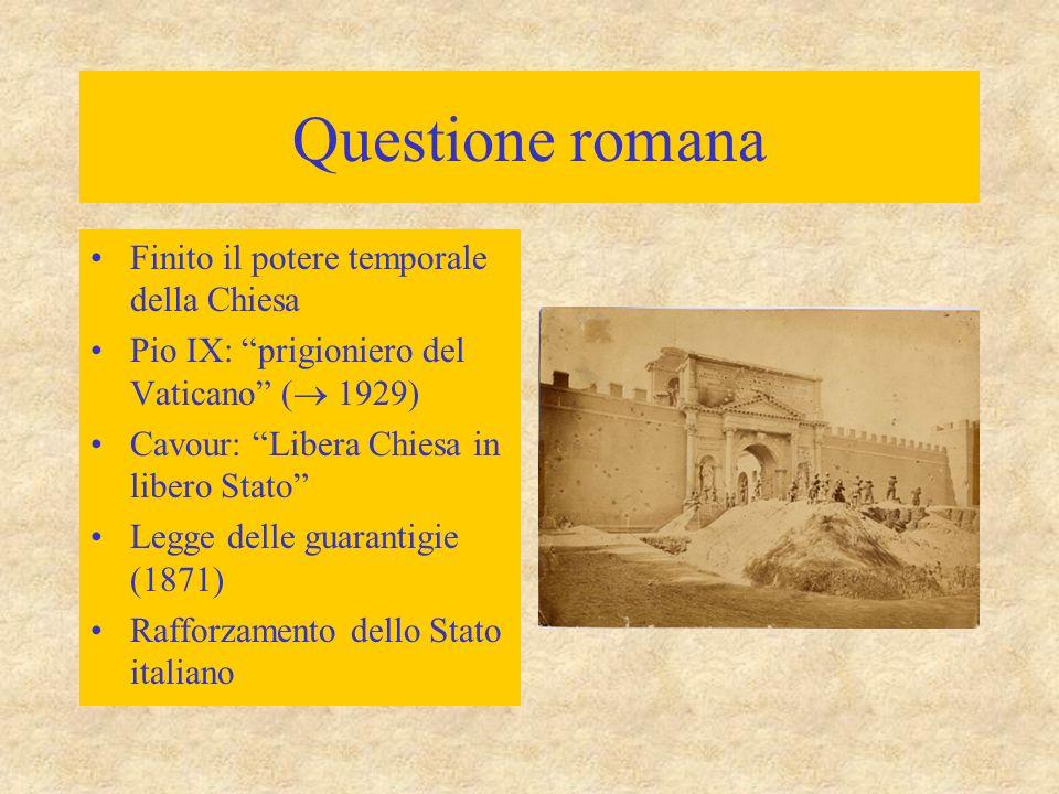 Questione romana Finito il potere temporale della Chiesa Pio IX: prigioniero del Vaticano (  1929) Cavour: Libera Chiesa in libero Stato Legge delle guarantigie (1871) Rafforzamento dello Stato italiano