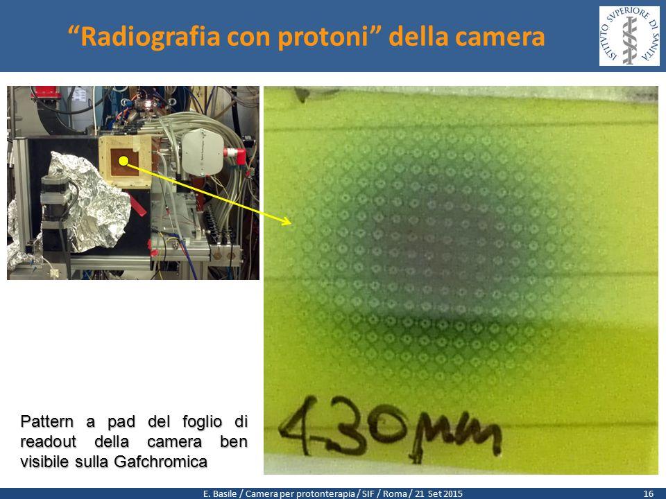 """E. Basile / Camera per protonterapia / SIF / Roma / 21 Set 2015 """"Radiografia con protoni"""" della camera Pattern a pad del foglio di readout della camer"""