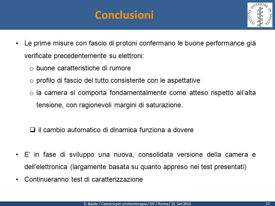 E. Basile / Camera per protonterapia / SIF / Roma / 21 Set 2015 Conclusioni Le prime misure con fascio di protoni confermano le buone performance già