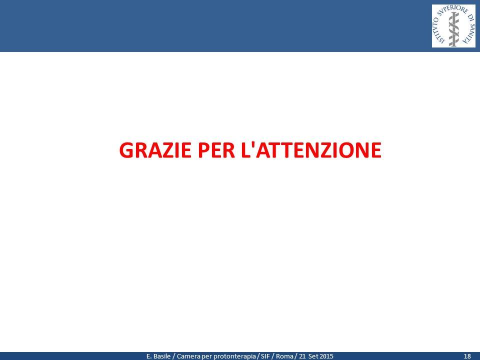 E. Basile / Camera per protonterapia / SIF / Roma / 21 Set 2015 GRAZIE PER L ATTENZIONE 18