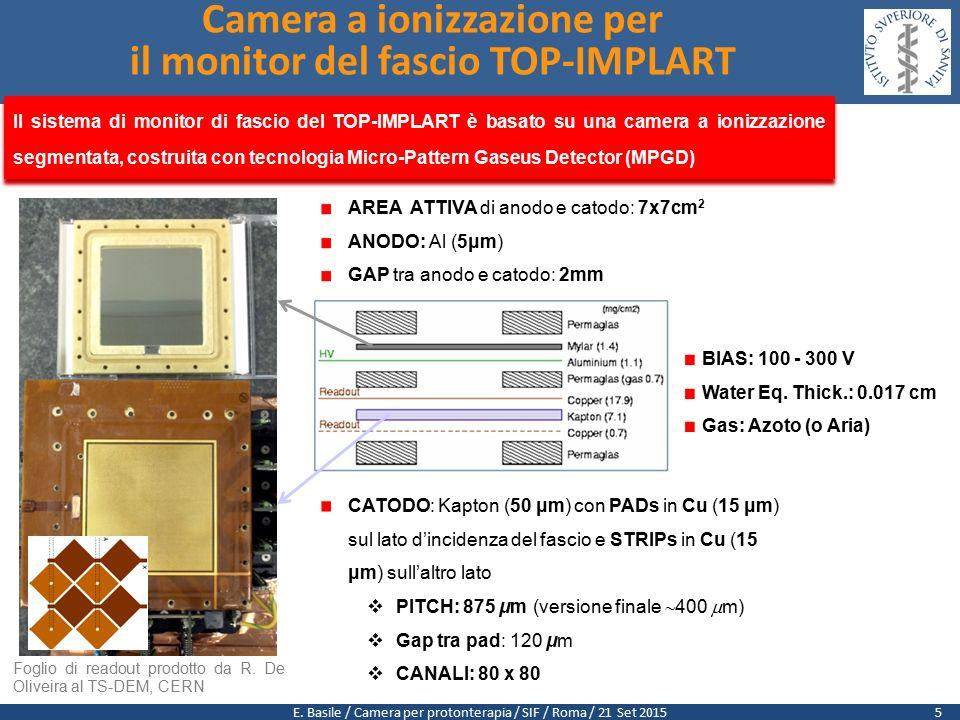 E. Basile / Camera per protonterapia / SIF / Roma / 21 Set 2015 Camera a ionizzazione per il monitor del fascio TOP-IMPLART Foglio di readout prodotto