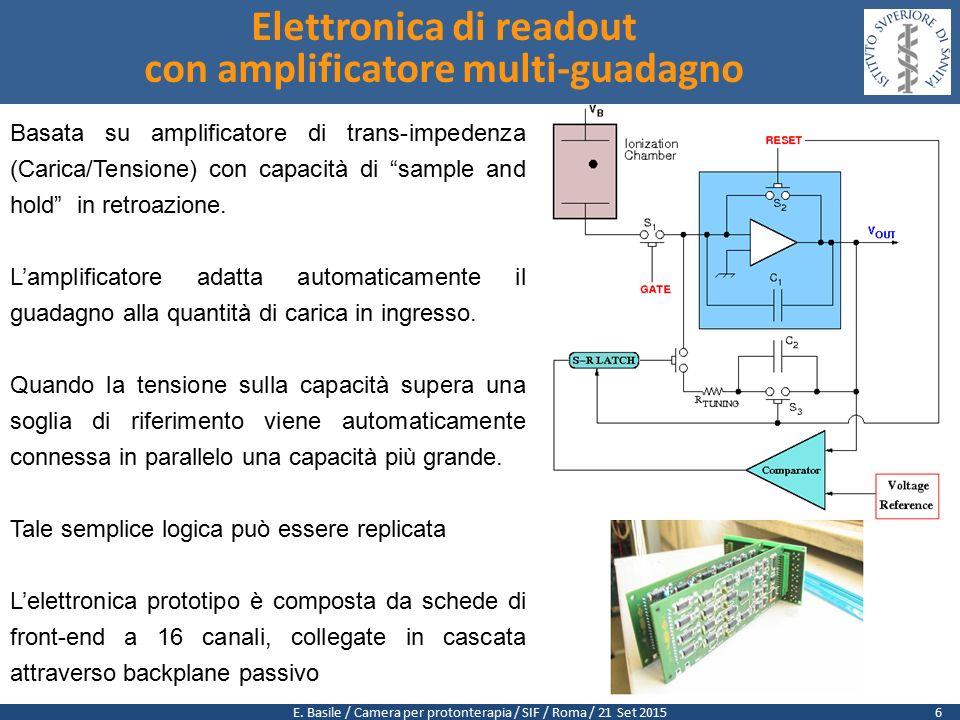 """E. Basile / Camera per protonterapia / SIF / Roma / 21 Set 2015 Basata su amplificatore di trans-impedenza (Carica/Tensione) con capacità di """"sample a"""