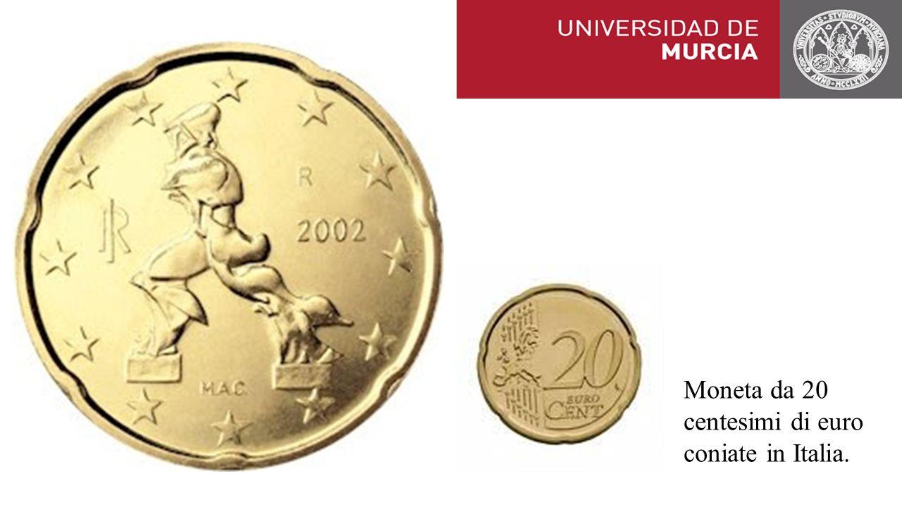 Moneta da 20 centesimi di euro coniate in Italia.