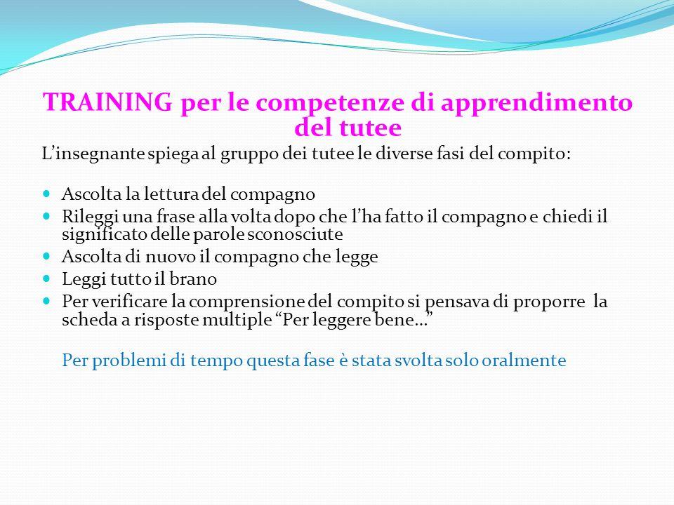 TRAINING per le competenze di apprendimento del tutee L'insegnante spiega al gruppo dei tutee le diverse fasi del compito: Ascolta la lettura del comp