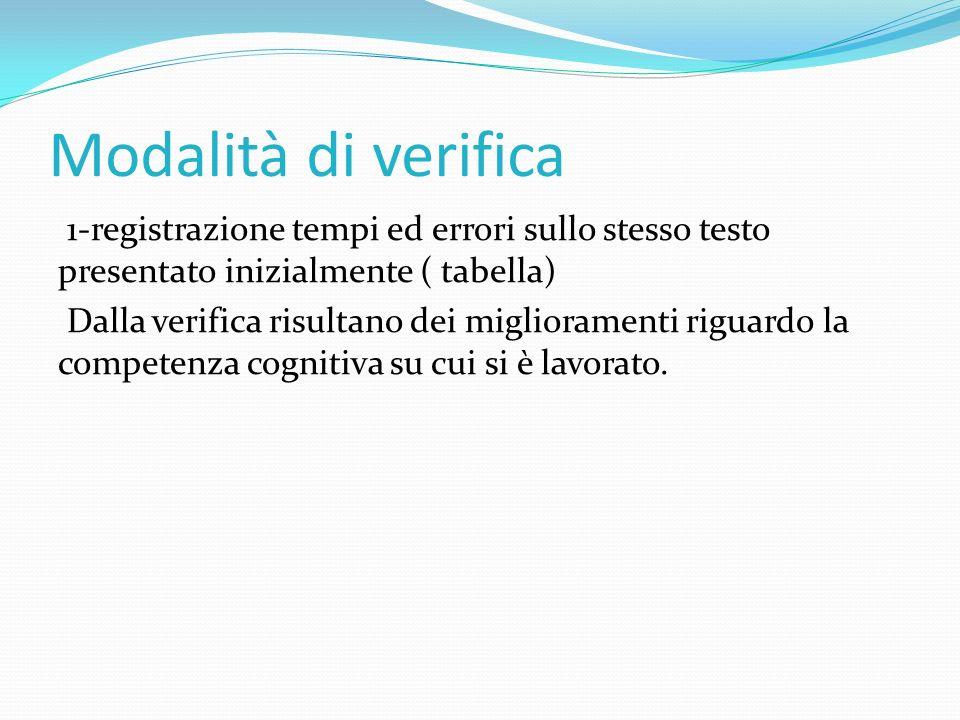 Modalità di verifica 1-registrazione tempi ed errori sullo stesso testo presentato inizialmente ( tabella) Dalla verifica risultano dei miglioramenti