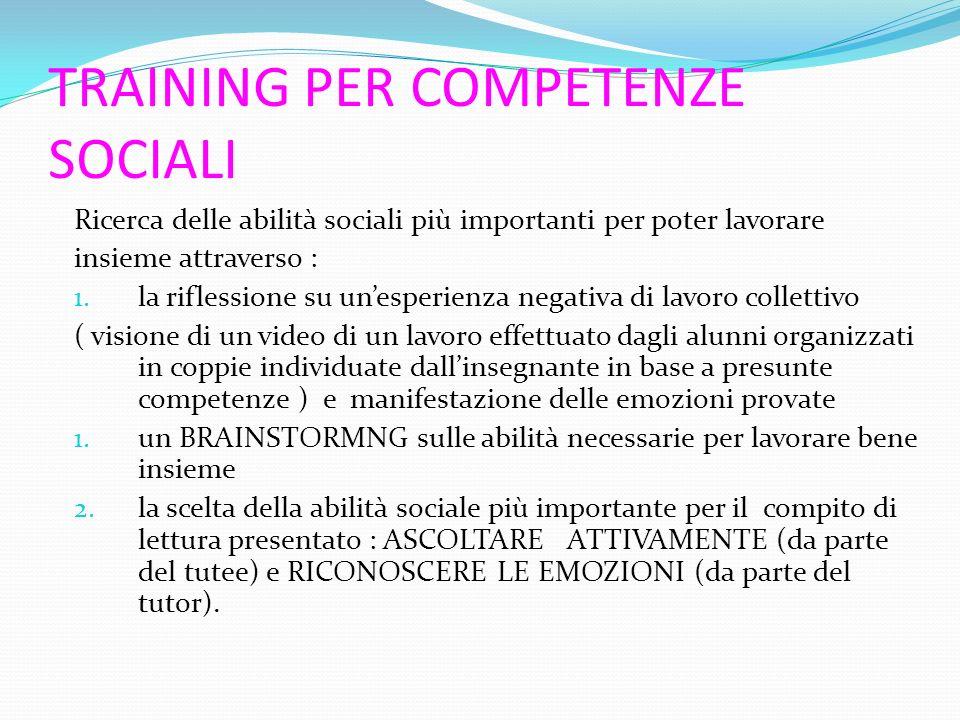 TRAINING PER COMPETENZE SOCIALI Ricerca delle abilità sociali più importanti per poter lavorare insieme attraverso : 1. la riflessione su un'esperienz