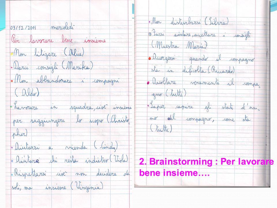 2. Brainstorming : Per lavorare bene insieme….