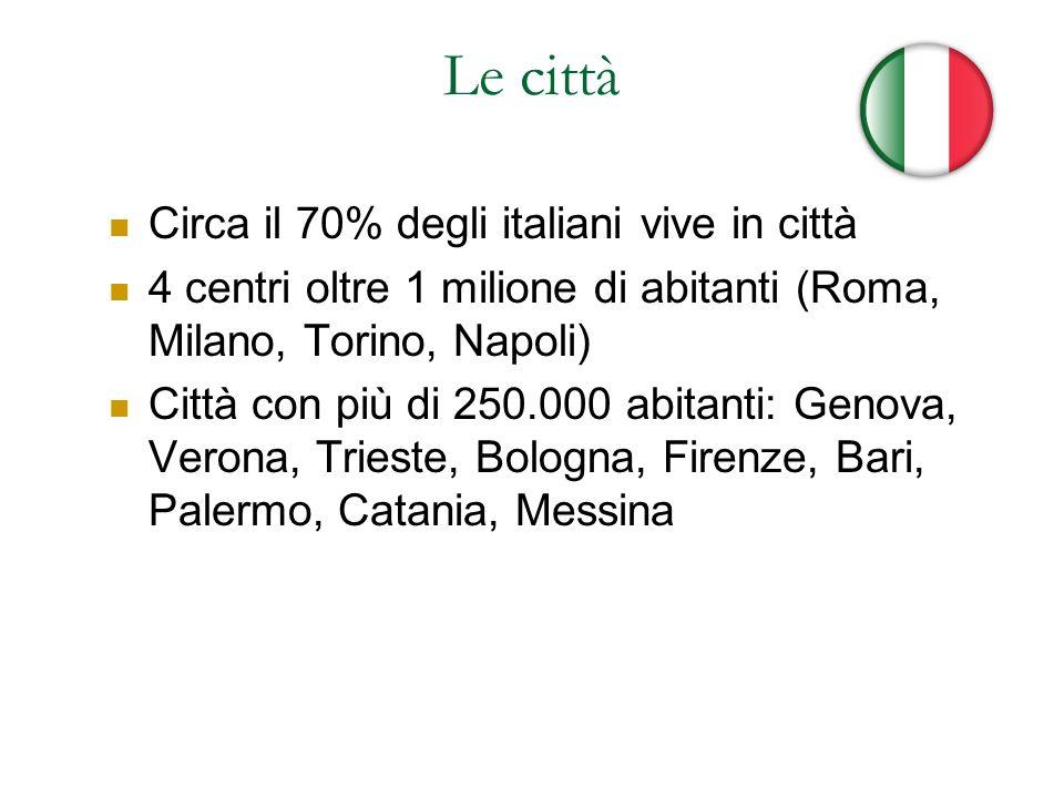 Le città Circa il 70% degli italiani vive in città 4 centri oltre 1 milione di abitanti (Roma, Milano, Torino, Napoli) Città con più di 250.000 abitan