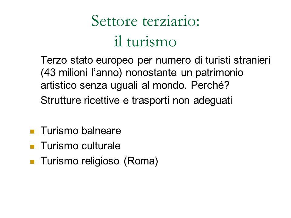 Settore terziario: il turismo Terzo stato europeo per numero di turisti stranieri (43 milioni l'anno) nonostante un patrimonio artistico senza uguali al mondo.