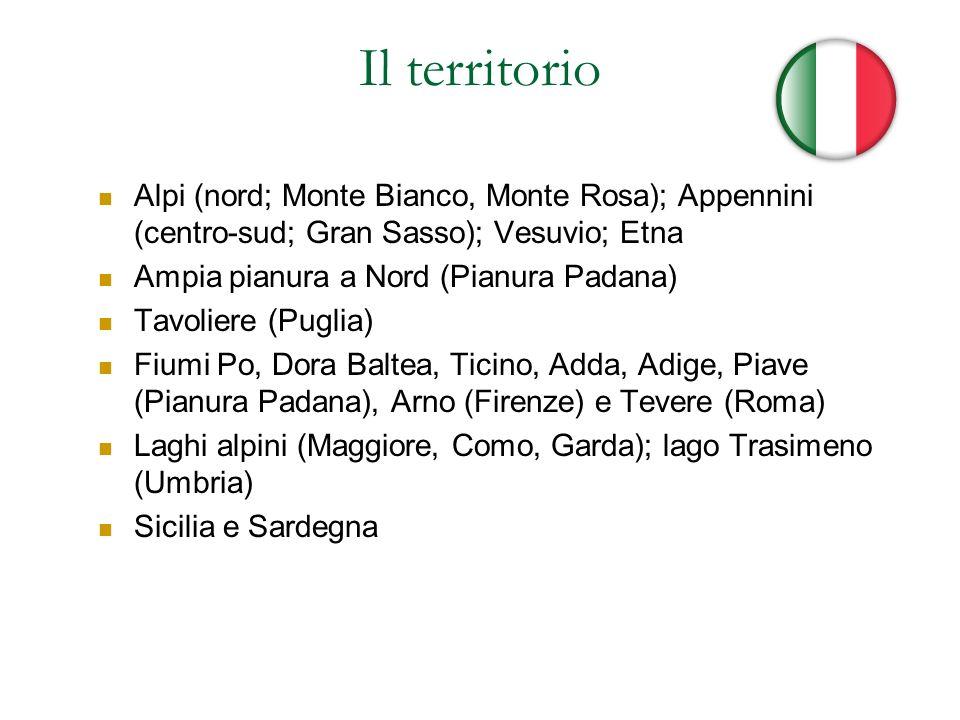 Il territorio Alpi (nord; Monte Bianco, Monte Rosa); Appennini (centro-sud; Gran Sasso); Vesuvio; Etna Ampia pianura a Nord (Pianura Padana) Tavoliere
