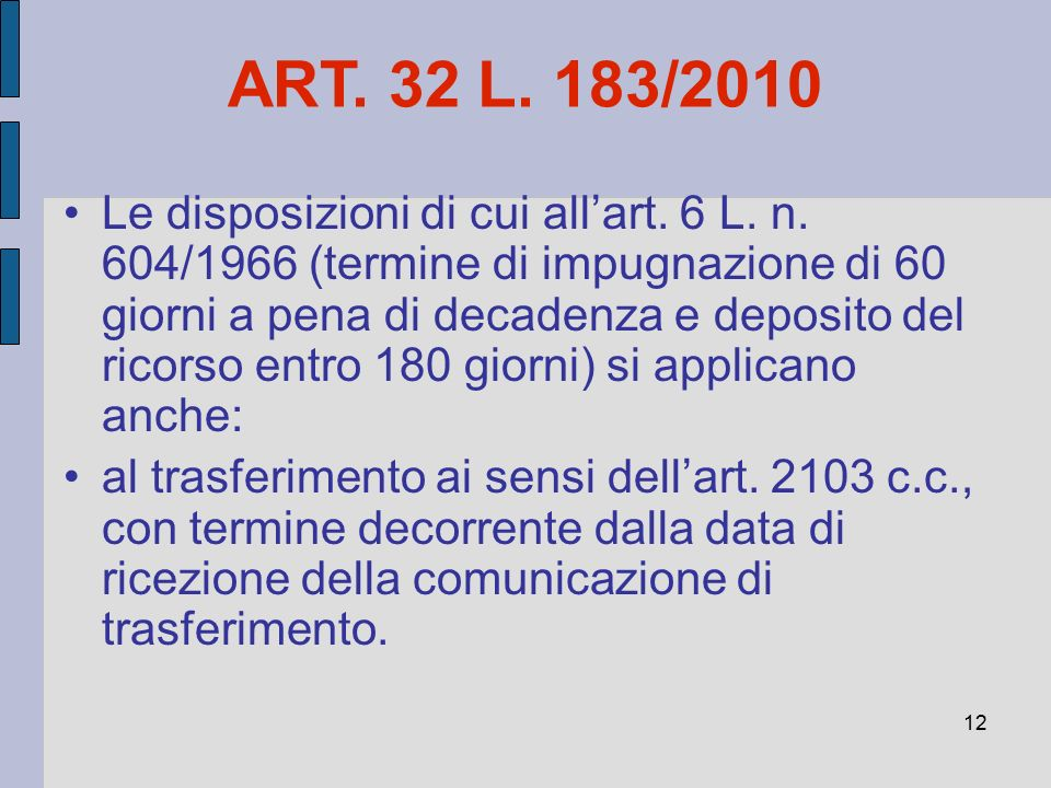 12 ART. 32 L. 183/2010 Le disposizioni di cui all'art. 6 L. n. 604/1966 (termine di impugnazione di 60 giorni a pena di decadenza e deposito del ricor