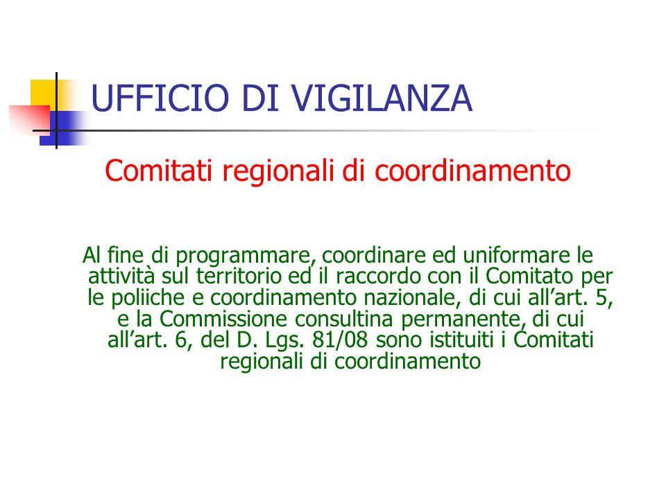 UFFICIO DI VIGILANZA Comitati regionali di coordinamento Al fine di programmare, coordinare ed uniformare le attività sul territorio ed il raccordo con il Comitato per le poliiche e coordinamento nazionale, di cui all'art.