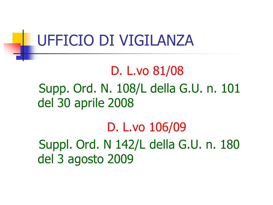UFFICIO DI VIGILANZA D. L.vo 81/08 Supp. Ord. N.