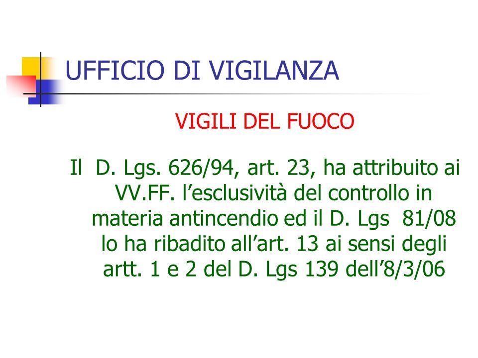 UFFICIO DI VIGILANZA VIGILI DEL FUOCO Il D. Lgs. 626/94, art.