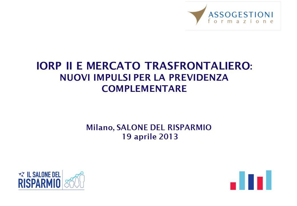 Milano, SALONE DEL RISPARMIO 19 aprile 2013 IORP II E MERCATO TRASFRONTALIERO : NUOVI IMPULSI PER LA PREVIDENZA COMPLEMENTARE