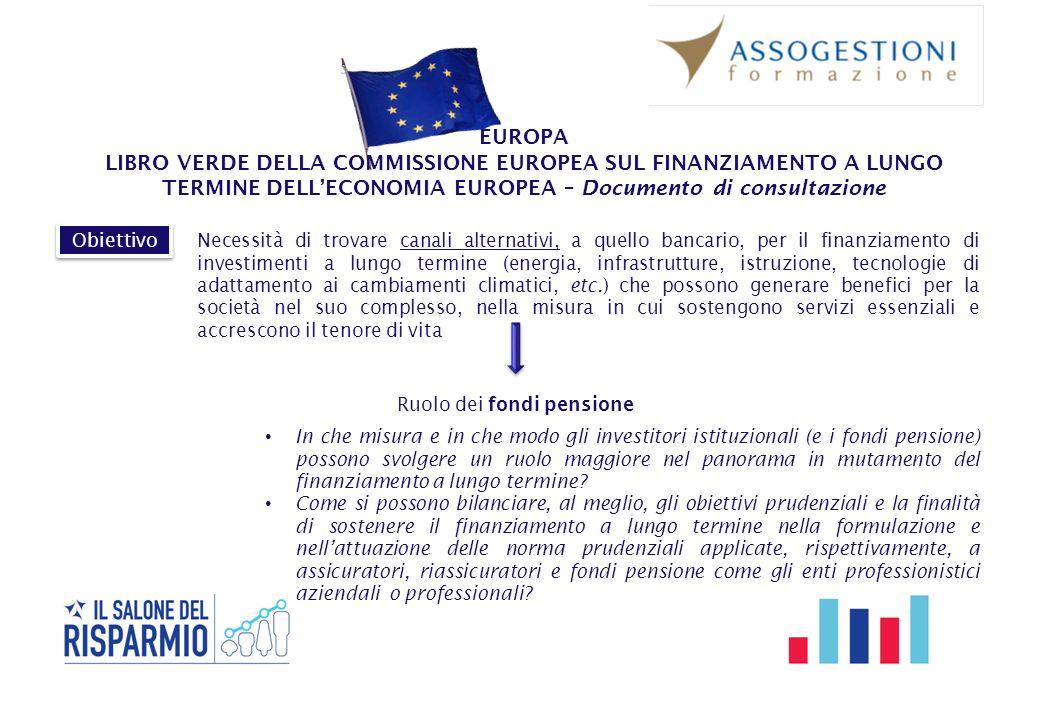 EUROPA LIBRO VERDE DELLA COMMISSIONE EUROPEA SUL FINANZIAMENTO A LUNGO TERMINE DELL'ECONOMIA EUROPEA – Documento di consultazione Ruolo dei fondi pens