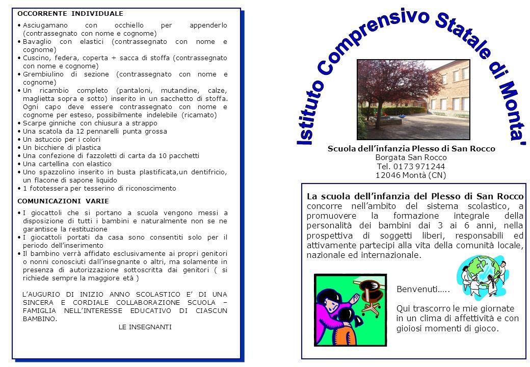 Scuola dell'infanzia Plesso di San Rocco Borgata San Rocco Tel.